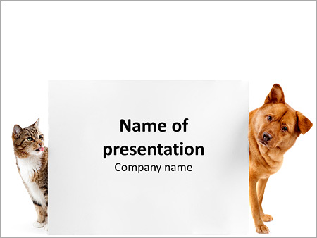 cat and dog behind placard powerpoint template & backgrounds id, Modern powerpoint
