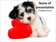 Puppy with Red Heart PowerPoint Templates