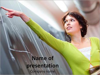Teacher Points at Blackboard PowerPoint Template