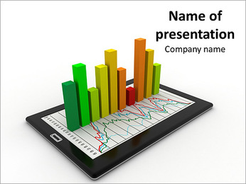Tablet with Financial Graph PowerPoint Template
