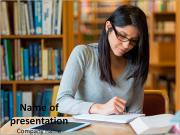 Young Teacher in School Library PowerPoint Templates