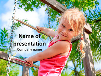 Small Girl on the Playground PowerPoint Template