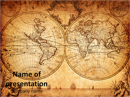 vintage world map powerpoint template backgrounds google slides