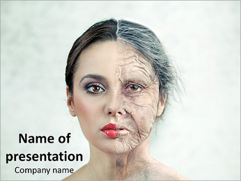 Young and Old Woman's Face PowerPoint Template
