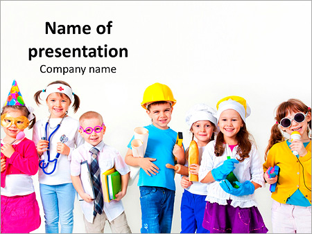 kids dreaming of future profession powerpoint template backgrounds