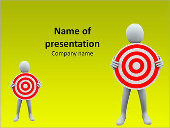3D Businessmen Holding Target Board PowerPoint Template
