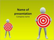 3D Businessmen Holding Target Board PowerPoint Templates