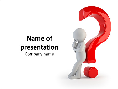 3d Illustrated Man Leaning Against Red Question Mark Powerpoint