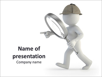 3D Detective with Loupe PowerPoint Template