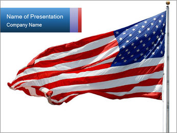 Us Flag Flapping on the Wind PowerPoint Template