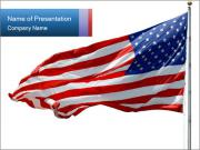 Us Flag Flapping on the Wind PowerPoint Templates