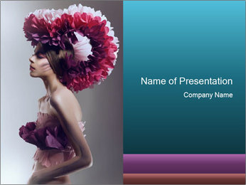 Model in Creative Pink Wig PowerPoint Template