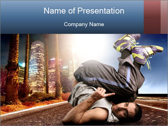 Breakdancer on the Road PowerPoint Template