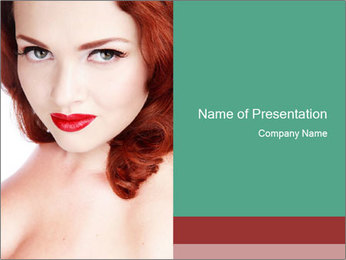 Seductive Red-Haired Lady PowerPoint Template