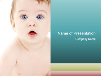 Cute Baby with Blue Eyes PowerPoint Template