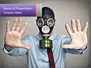 Businessman in Gasmask PowerPoint Template
