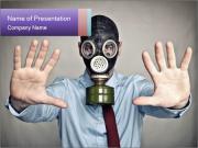 Businessman in Gasmask PowerPoint Templates