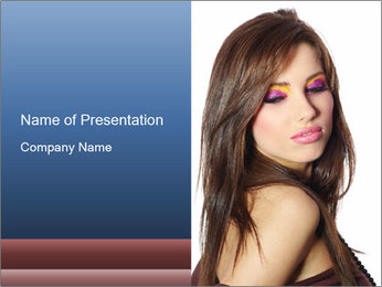 Lady with Bright Makeup PowerPoint Template