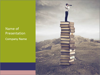 Man Standing on Books PowerPoint Template