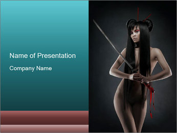 Nude Woman with Sword PowerPoint Template