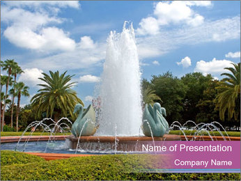 Swans in Fountain PowerPoint Template