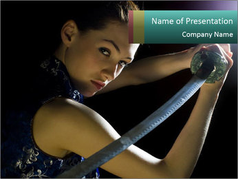 Girl Fighting with Sward PowerPoint Template