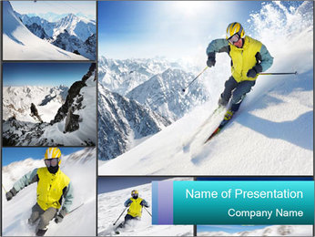 Ski Ride Collage PowerPoint Template