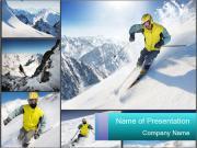 Ski Ride Collage PowerPoint Templates