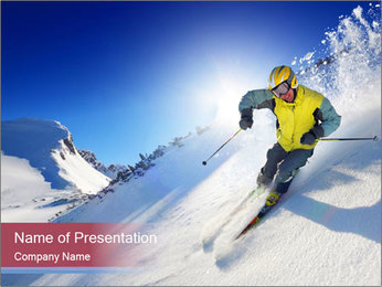 Crazy Ski Ride PowerPoint Template