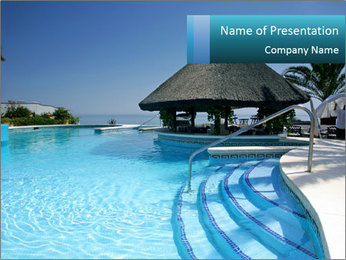 Hut Near Swimming Pool PowerPoint Template