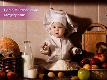 Small Boy Leanrs How to Cook PowerPoint Template