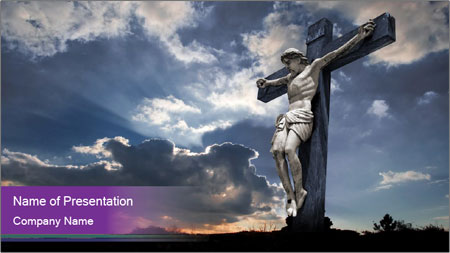 symbol of christian religion powerpoint template backgrounds