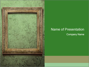 Photo Frame on Green Wall PowerPoint Template