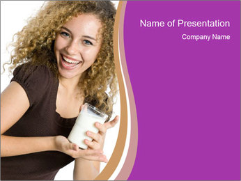Woman with Glass of Milk PowerPoint Template