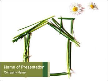 House Made of Green Grass PowerPoint Template