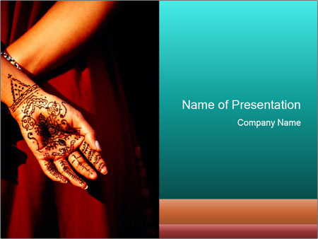 Mehndi Hands Powerpoint : Female decorated with henna painting powerpoint template