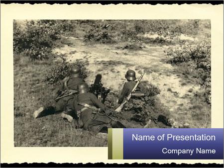 world war ii postcard powerpoint template & backgrounds id, Modern powerpoint