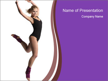 Slim Ballerina Dancing in Black Body PowerPoint Template