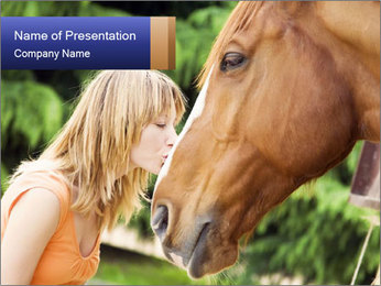 Woman Hugging her Horse PowerPoint Template