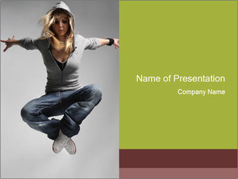 HipHop Dancer in Casual Clothes PowerPoint Template