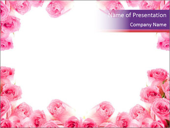 Pink Roses Frame PowerPoint Template