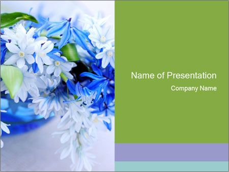 Blue Spring Flowers Powerpoint Template Backgrounds Google Slides