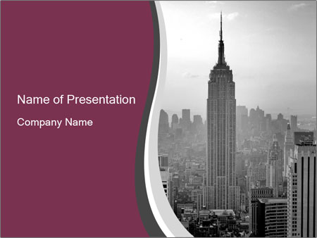 Famous Empire State Building Powerpoint Template Backgrounds