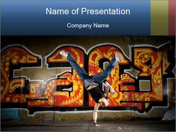 Breakdancer Posing on Graffiti Wall PowerPoint Template