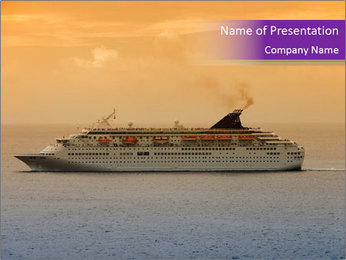 Liner in the Caribbean Sea PowerPoint Template