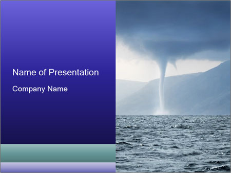 tornado over the sea powerpoint template & backgrounds id, Modern powerpoint