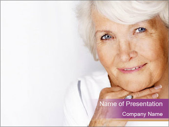 Grey-Haired Retired Lady PowerPoint Template