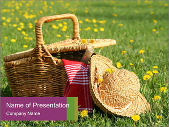 Hat and Busket on the Meadow PowerPoint Template