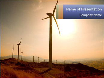 Line of Windmills PowerPoint Template