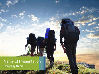 Group of Backpackers PowerPoint Template